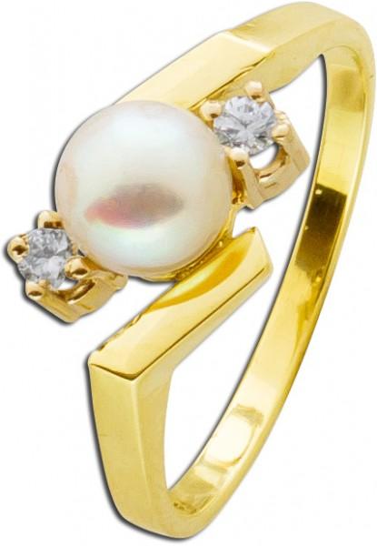 Ring Perlenring Gelbgold 585 antik Akoya...