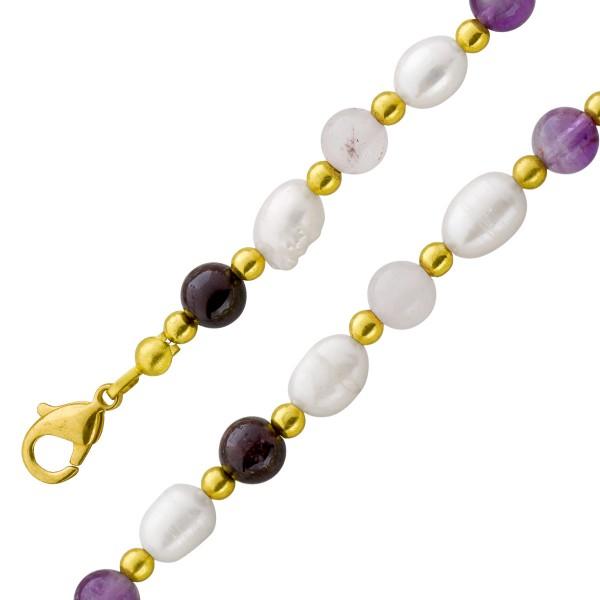 Perlenkette – Set Perlencollier Perlenarmband chinsesische Süßwasserzuchtperlen Edelsteine