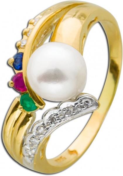 Ring Perlenring Gelbgold 585 Akoyazuchtp...
