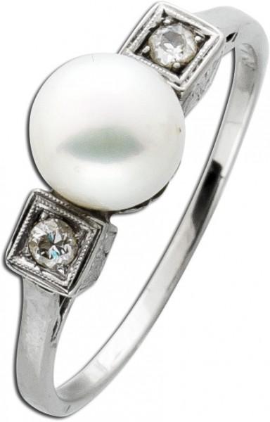 Perlenring Antik 50er Jahre Weißgold 75...