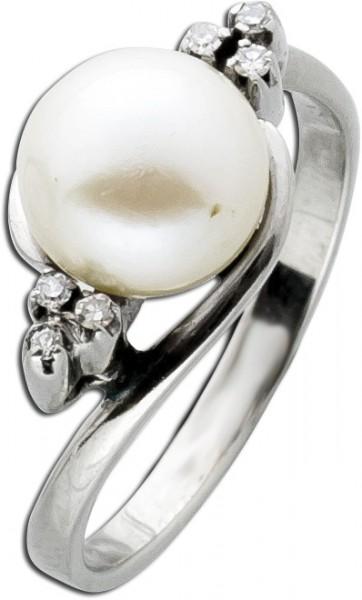 Antiker Perlenring 60er Jahre Weißgold 750 japanische Akoyaperle – 6 Diamanten 0,06ct 8/8 W/SI