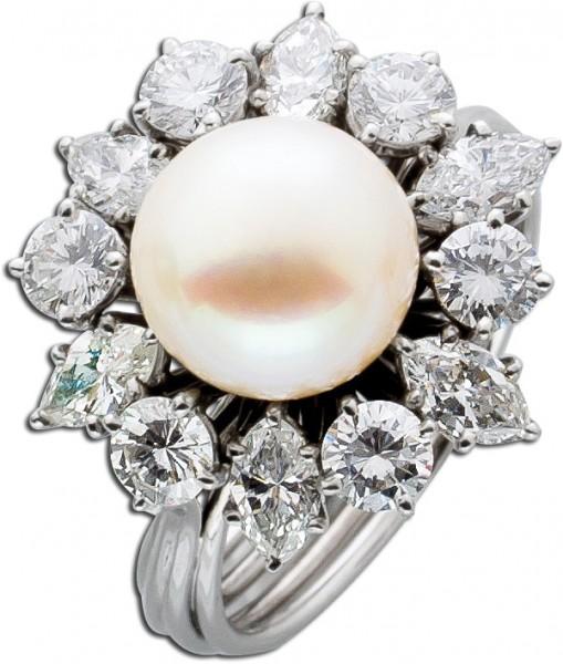 Perlenring Diamantring Weißgold 750 Per...