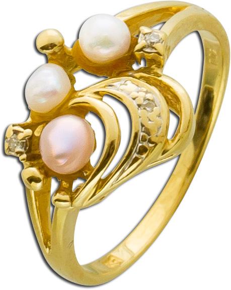 Ring – Perlenring Gelbgold 585 3 Süßwasserzuchtperlen 3 Diamanten 8/8 W/P