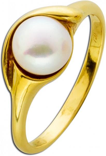 Ring Gelbgold 750 japanische Akoyazuchtp...