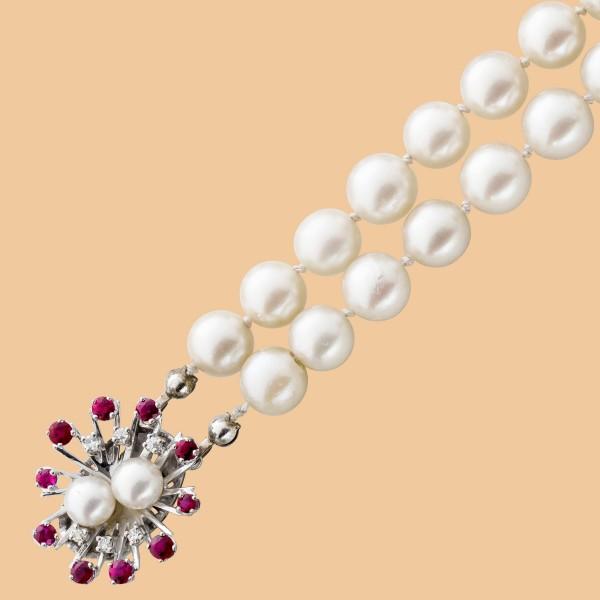 Perlenkette – Perlencollier 2-reih...
