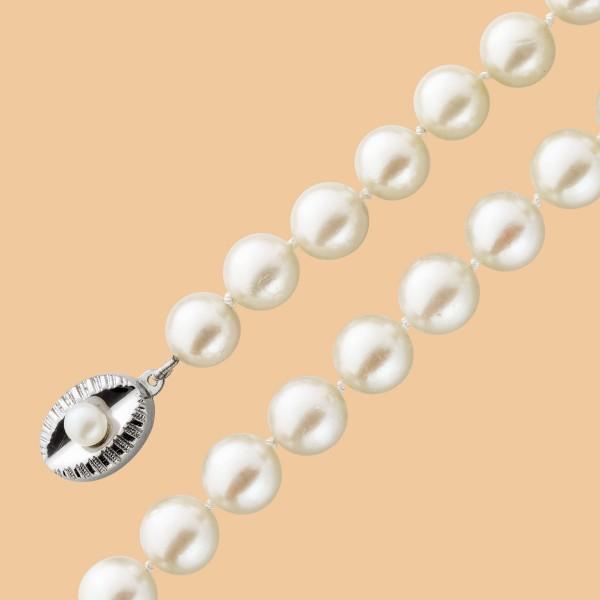 Perlenkette – Perlencollier antik japanische Akoyazuchtperlen riesig Ø8,5mm creme-rosé Lüster Silber 835