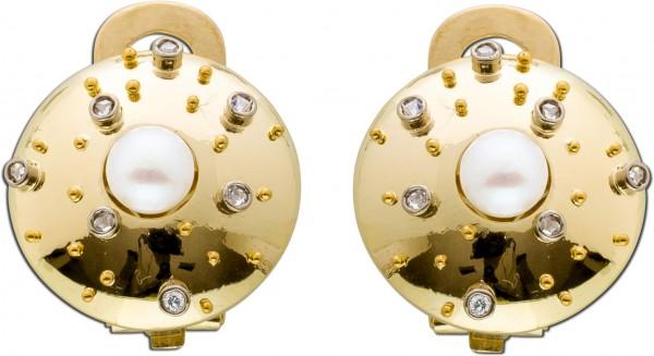 Antike Ohrclips / Ohrringe Gelbgold 585  Diamant Akoyazuchtperlen 70er Jahre