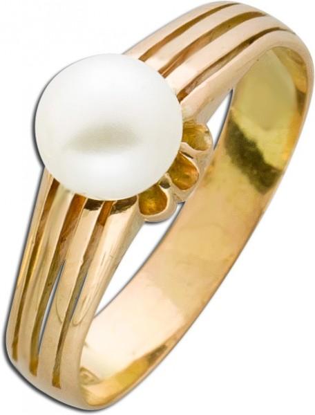 Antiker Perlenring Solitäroptik 20er Jahre Gelbgold 750