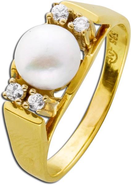 Antiker Perlenring Gelbgold 585 japanische Akoazuchtperle rose Perlenlustre Brillanten 60er Jahre Top