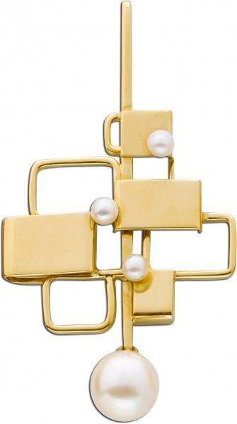 Anhänger Gelbgold 585 Designerstück Japanische Akoyazuchtperlen feinstes rose Perlenlustre Einzelstück