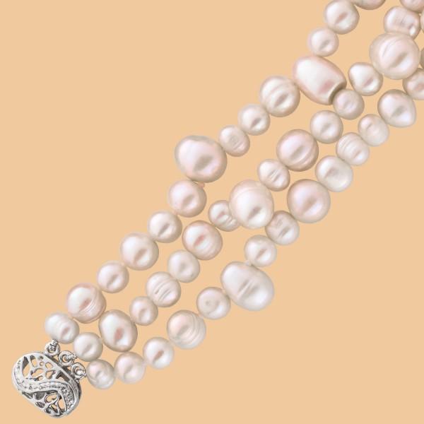 Perlenkette – Perlencollier 3-Reih...
