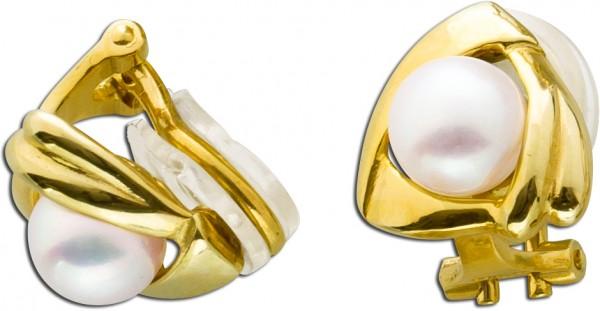 Antike Ohrclipse 70er Jahren Gelbgold 585 2 japanischen Akoyazuchtperlen