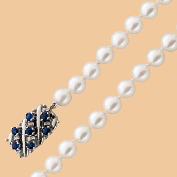 Japanische Akoya zuchtperlenkette AAA weiss rosefarben Weissgold 585 Sicherheitsverschluss blaue Saphir