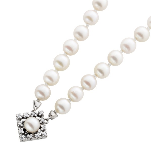 Japanische Akoya-Perlenkette Antik Top Zustand Diamant – Weissgold Anhänger 585 TW/VVSI  0,24ct