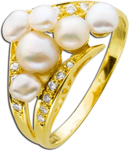 Ring Gelbgold 750 Biwazuchtperlen Brilla...