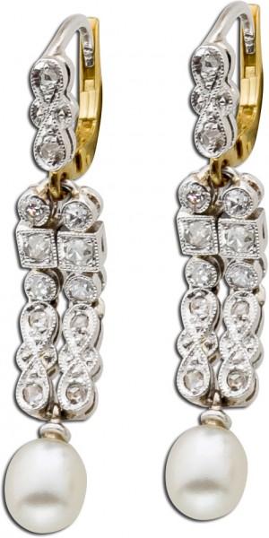 Antike Ohrhänger Gelbgold 585 Weißgold 585 Diamanten Altschliff Akoyazuchtperlen Brisurverschluss