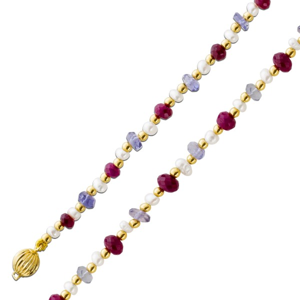 Perlenkette – Gelbgold 333  lila A...