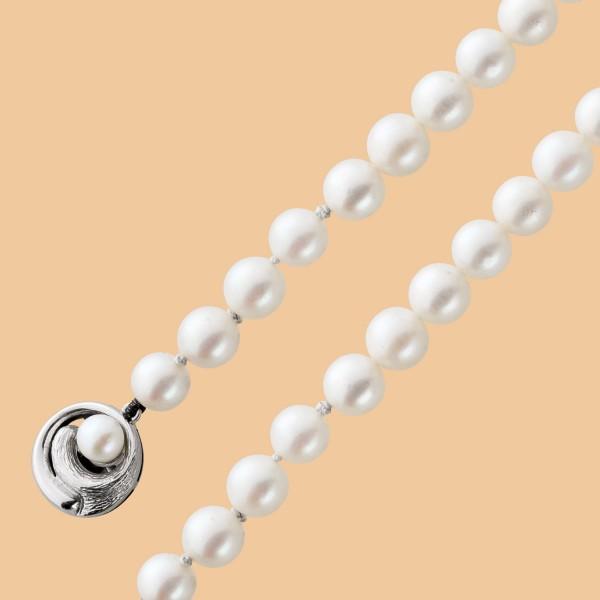 Perlenkette poliertem Weißgold 585 ros�...