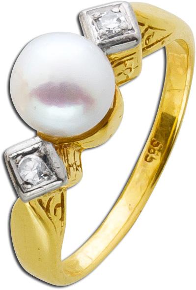 Antiker Perl-Diamantring Gelb/ Weißgold 585 roséfarbenen Akoyazuchtperle zwei Diamanten 8/8 WSI