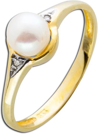 Diamantring mit Japanischer Akoyazuchtperle makellos rose Lustre Gelbgold 333 funkelnde Diamanten Einzelstück