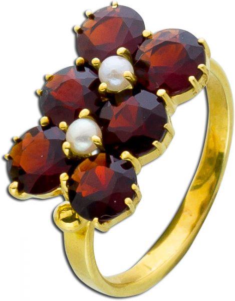 Granat Ring Antik Flussperlen facettierte rote Granatedelsteine Gelb Gold 585