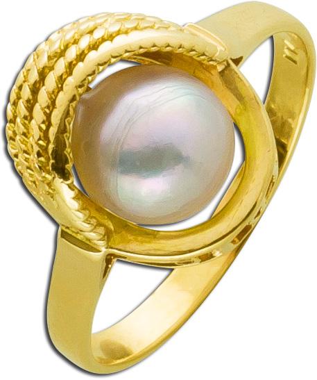 Perlenring weiß rose Gelbgold 585 Akoyazuchtperlen Ring  Antik Muschelform