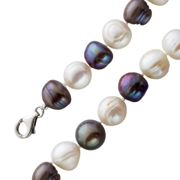 Perlenkette knopfform anthrazit weiß fa...