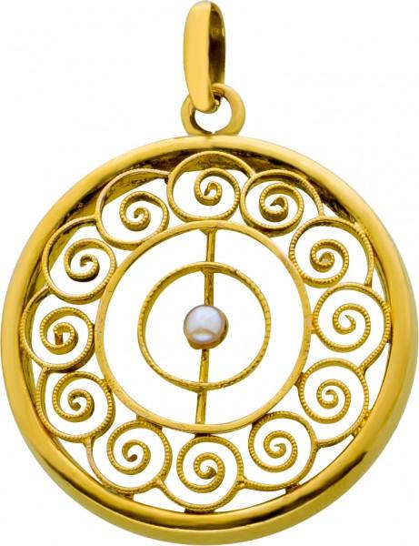 Antiker Perlanhänger Gelb Gold 585 etruskischem Fadendesign Orientperle 2mm