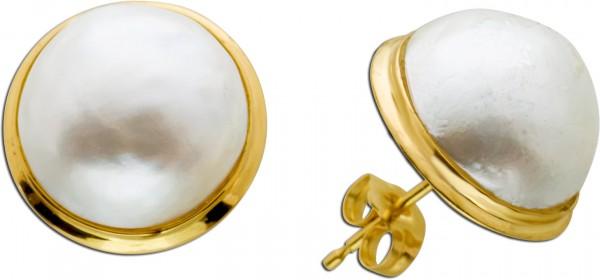 Perlen Ohrringe Ohrstecker Gelb Gold 585...