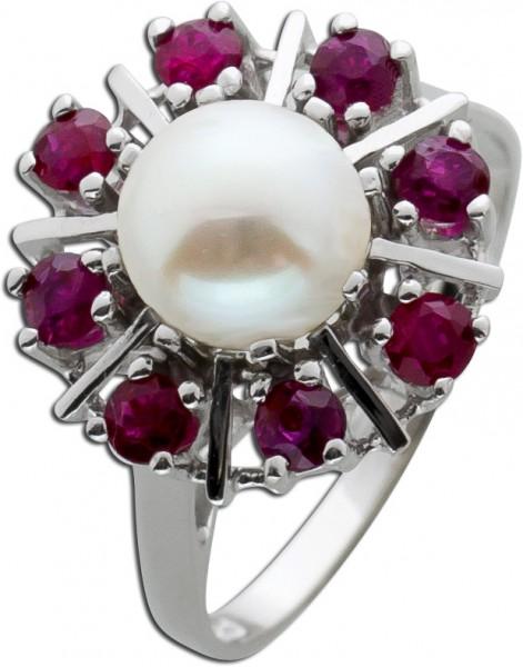 Ring Antik Weißgold 585 Perle Edelstein rot Rubin Akoyaperle Goldring Perlenschmuck