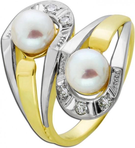 Antiker Akoyazucht Perlen Ring Gelb/Weissgold 585/- Diamant Brillant 0,06ct TW/VSI
