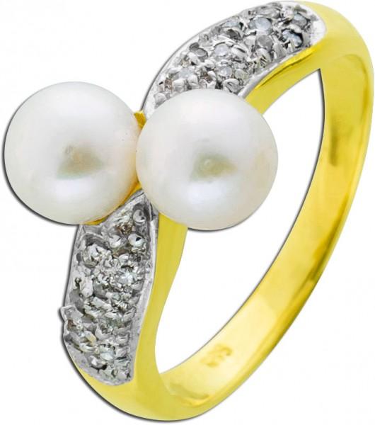 Perlen Ring Gelb/ Weissgold 585 jap. Ako...