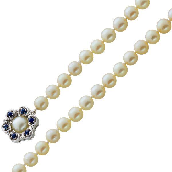 Japanisches Akoyaperlen Collier creme weiße rose Perlen blauen Saphieren Weißgold 585