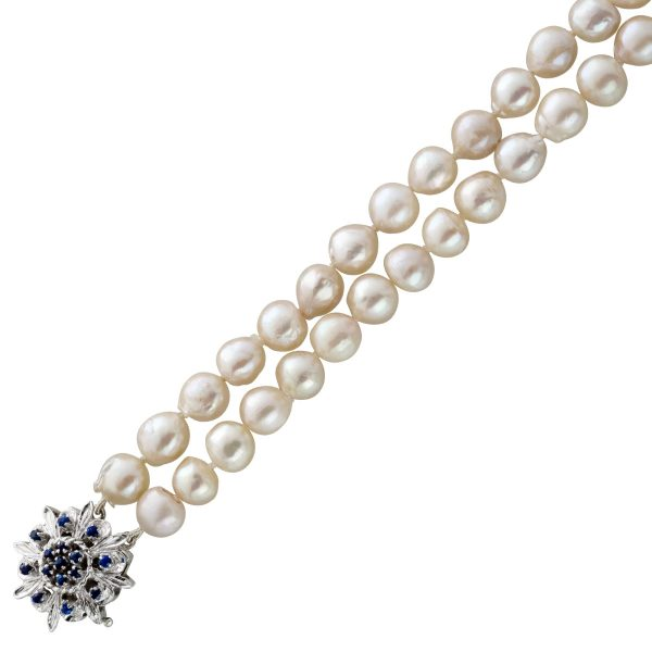 2-reihige Perlenkette barocke perl förmigen japanischen Akoyaperlen weiß-rose Weißgold 585/- Schließe blauen Saphiren