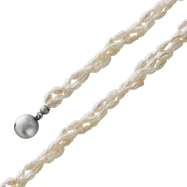 Perlenkette Collier Süsswasser 3-reihig...