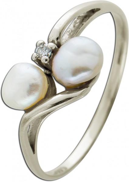 Antiker Perlenring Weissgold 333/- 8kt, ...