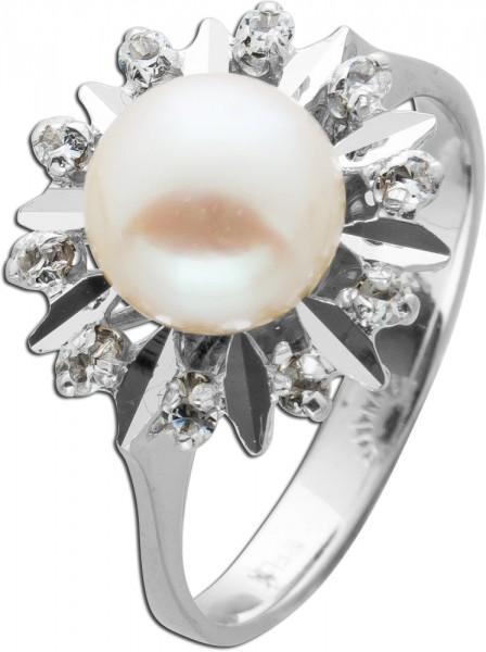 Antiker Diamant Perlring Weissgold 750  ...
