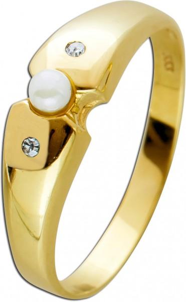 Antiker Perlring um 1970 weißer Perle G...