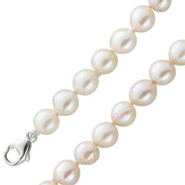 Jap. Akoyaperlen Halskette Collier Silber 925 Karabiner leichte Barockform mittleres Lustre weiss-leicht creme natürliche Einschlüsse