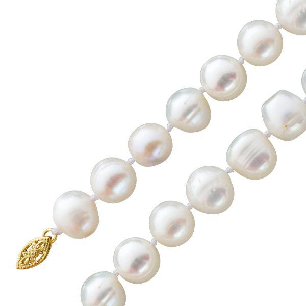 Perlenkette ovalen weiss-rose farbenen Süßwasserzuchtperlen Gelbgold 585 Schließe