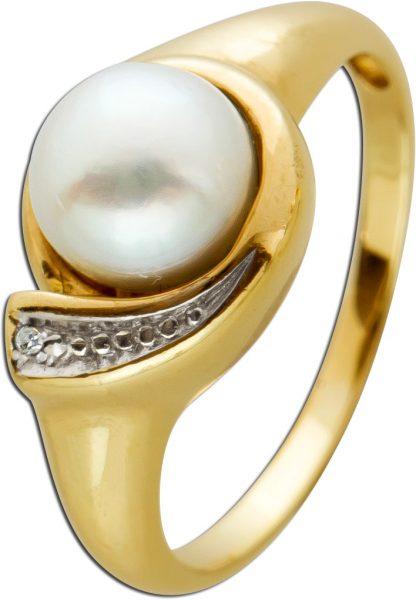 Antiker Perlenring um 1970 weißer Akoyazuchtperle Gelbgold 585 weißen Diamant