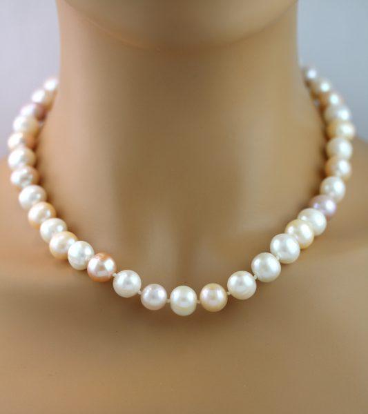 Perlenkette Japanischen Biwa Perlen weiß rose Silber 925 Perlenschmuck