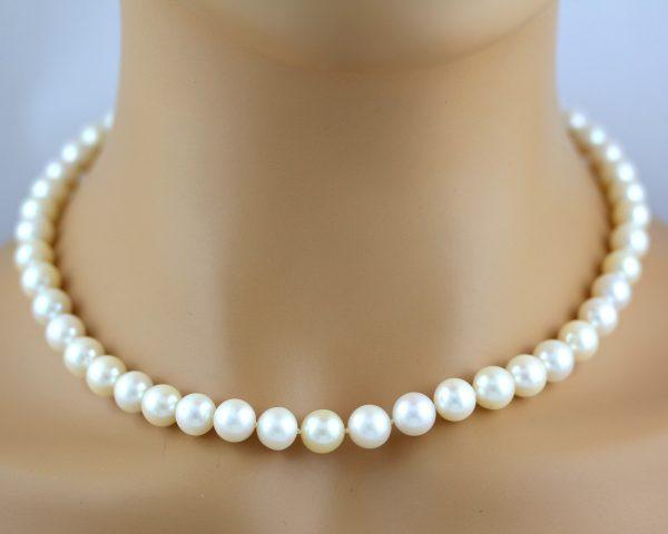 Perlenkette Südseeperlen Weiß Rose Lustre Gelbgold 585 Verschluss