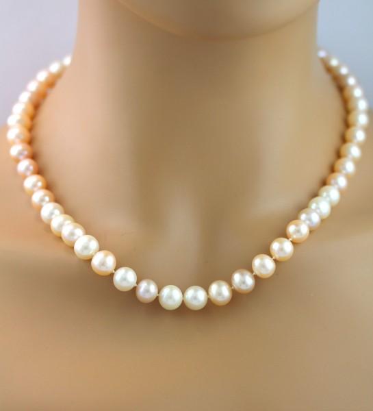 Aprikofarbene Perlenkette Süßwasserzuc...