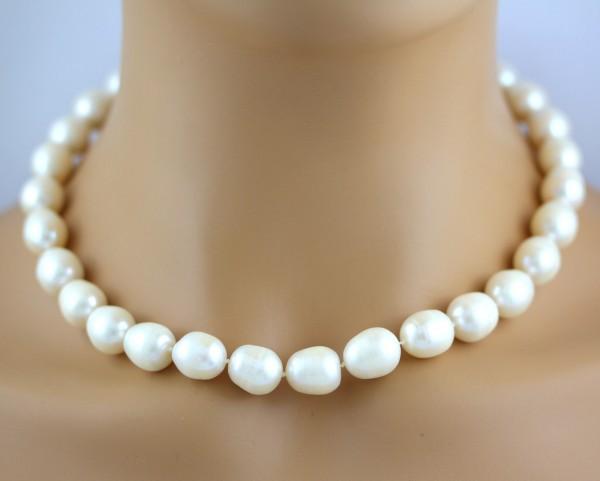 Weiße Perlenkette Japanischen Biwaperlen Silber 925 Perlenschmuck