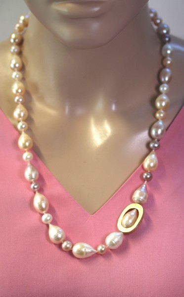 Antike Perlenkette Japanischen Biwaperle...