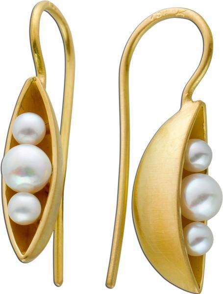 Italienische Perlen Ohrstecker Ohrringe Gelbgold 750/- Schiffform weisse Akoyaperlen Nobelschmiede Damiani