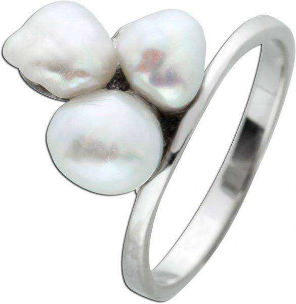 Perlen Ring Weissgold 585 weisse Biwa Perlen  moderner Designerring 18mm