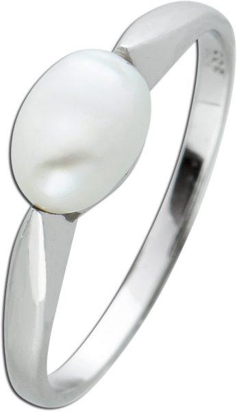 Antiker Perlen Ring Weissgold 585 weisse jap. Biwa Perle Kartoffelform 70er Jahre Vintage