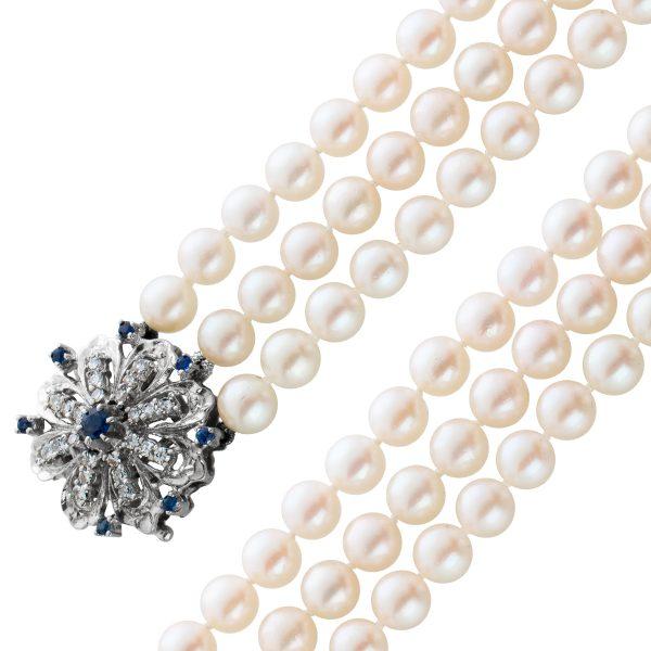 3-reihiges Perlen Collier antik 70er Jahren Japanischen Akoyaperlen weiß rose Weißgold 750 Diamanten Saphiren